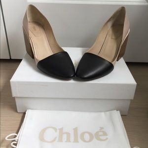 Chloe two tone leather block heel pump, size 7